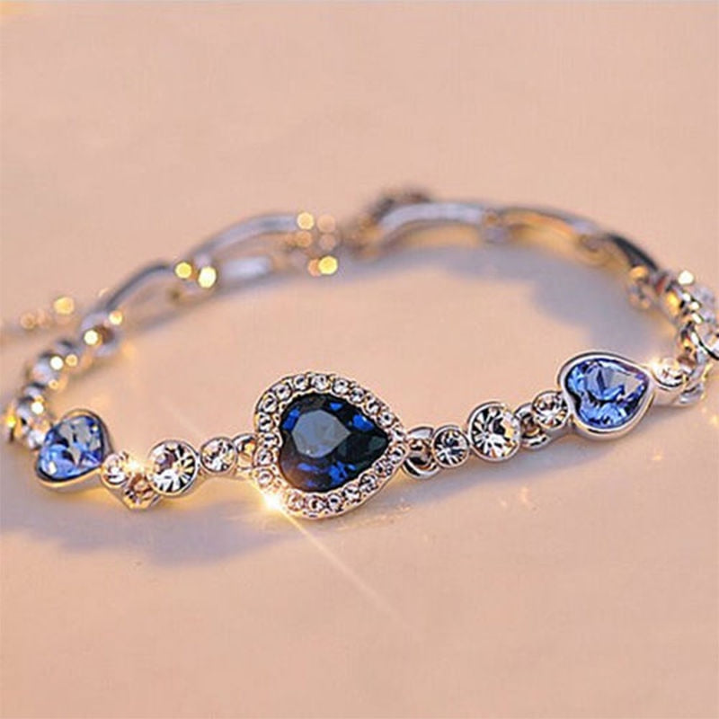 Fashion Heart Bangle Bracelet Women Ocean Blue Crystal Rhinestone - Jewelry Paradise
