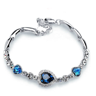 Fashion Heart Bangle Bracelet Gift New Women Ocean Blue Crystal Rhinestone - Jewelry Paradise
