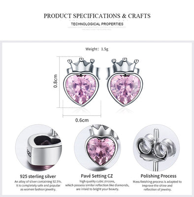 925 Sterling Silver Sweet Pink Heart of Crown Stud Earrings for Women Luxury Silver Jewelry Bijoux Gift - Jewelry Paradise