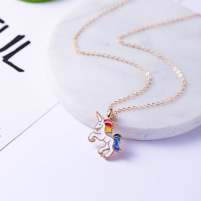 Necklace For Girls Children Kids Enamel Cartoon Horse jewelry accessories Women Animal Necklace Pendant Party - Jewelry Paradise