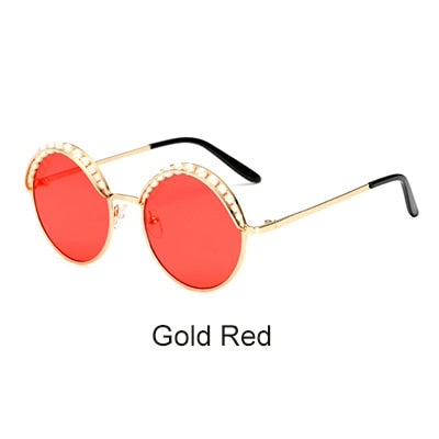 Round Sunglasses for Women Luxury Pearls arc on top Black Eyewear Mirror, UV400 and Anti-Reflective - Jewelry Paradise