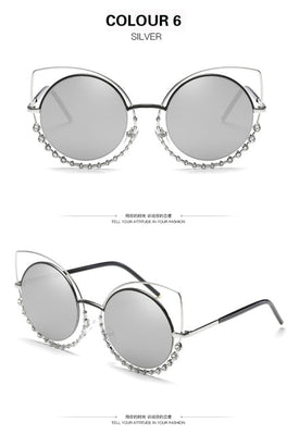 Fashion Luxury Cat eye Sunglasses for Women vintage style Mirror CatEye Ladies Sunglases Sun - Jewelry Paradise