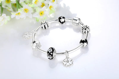 2019 New Fashion Silver Primrose Charms Bangle & Bracelet For Women Original DIY Black Flower Beads Jewelry Gift - Jewelry Paradise
