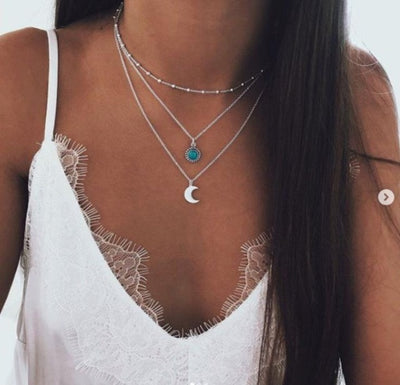 Bohemian jewelry new fashion pop jewelry moon three-layer multi-layer necklace female - Jewelry Paradise