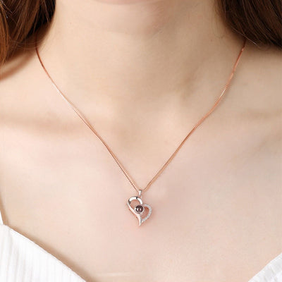 Rose Gold 100 Language I Love You Necklace Romantic Pendant Link Chain for Lover Choker Valentines Day Gift - Jewelry Paradise
