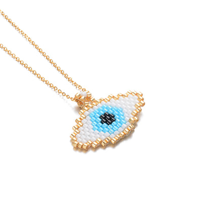 Evil Eye Necklace Gold Chain Necklaces Seed Beads Beadwork Fatima Women Jewelry Handmade Gift - Jewelry Paradise