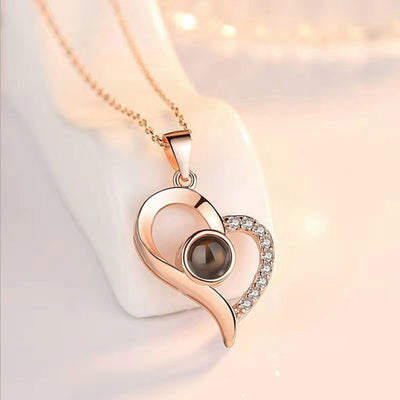 Love Memory Jewelry I Love You Projection Charm Necklaces Letter Crystal Pendant Necklace for Women - Jewelry Paradise
