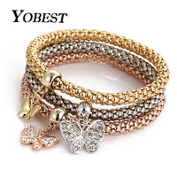 3 PCS/Set Crystal Heart Bracelets For Women Butterfly Bracelet and Bangle Multiple Shape Elastic - Jewelry Paradise