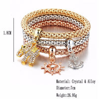 3 PCS/Set Crystal Heart Bracelets For Women Butterfly Bracelet &amp Bangle Multiple Shape Elastic - Jewelry Paradise