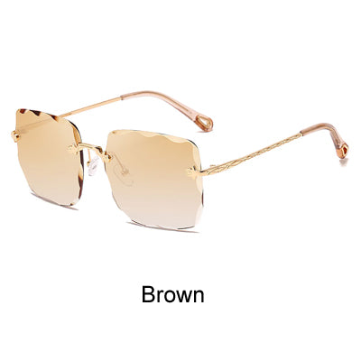 Sunglasses for Women Luxury 2019 UV400 Square Oversized and Rimless Crystal Sun Glasses Female Eyewear - Jewelry Paradise