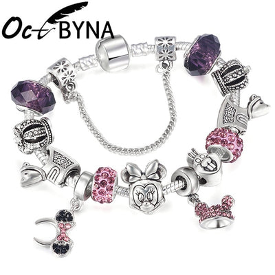 New Lovely Mickey Charms Bracelet For Women Kids Silver Color Minnie Chain Pandora Femme Girl Jewelry - Jewelry Paradise