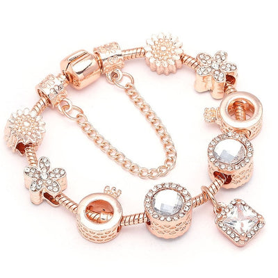 New Heart & Key Pendant Rose Gold Color Pandora Bracelets & Bangles Ferris Wheel Beads Charm Bracelet For Women Jewelry - Jewelry Paradise