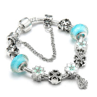 Vintage Silver Plated Crystal Pandora Bracelet For Women Fit Snake Chain Charm Bracelet Jewelry Gift - Jewelry Paradise