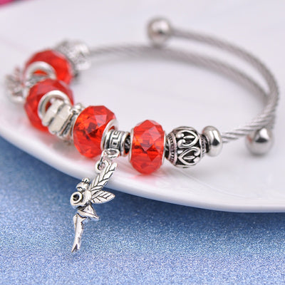 Fairy Charm bracelet for Women Silver Crystal fashion jewelry Red Color protection - Jewelry Paradise
