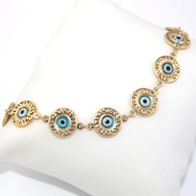 14k Gold Plated Bracelet Women Jewelry Medal Blue Turkish Evil Eye Lucky Charms - Jewelry Paradise