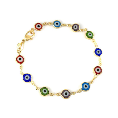 Unisex Bracelet with Multi Color Turkish EVil Eye Spiritual Protection Luck Ojo Turco - Jewelry Paradise