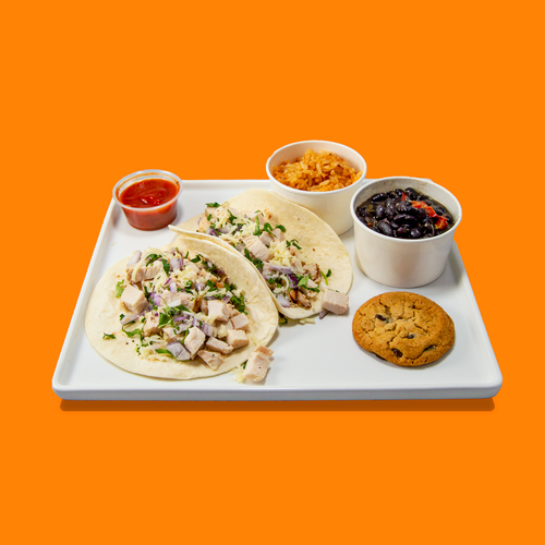 Individually packaged Chicken Taco meals from Big Box Catering