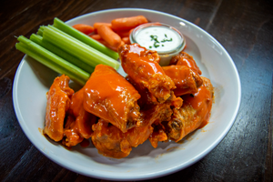 Wing Platter with Buffalo Sauce, ranch, carrots, and celery