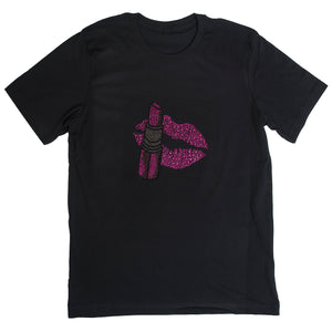 Glam Lips / Lipstick Make up T-shirt Black Crew Neck Pink Silver Rhinestones Bling Fashion T-shirts
