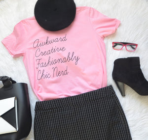 Awkward Creative Fashionably Chic Nerd Pink Fashion T-shirt Black bling Glitter Empowerment T-shirts
