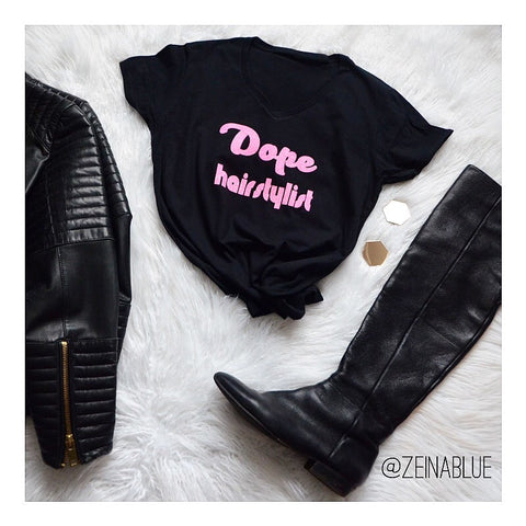 Dope Hairstylist Bling Black  Hot Pink T-shirt Salon Fashion Statement T-shirts