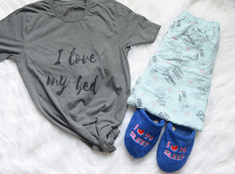 I love My Bed T-shirt Gray with Black Glitter Sleep