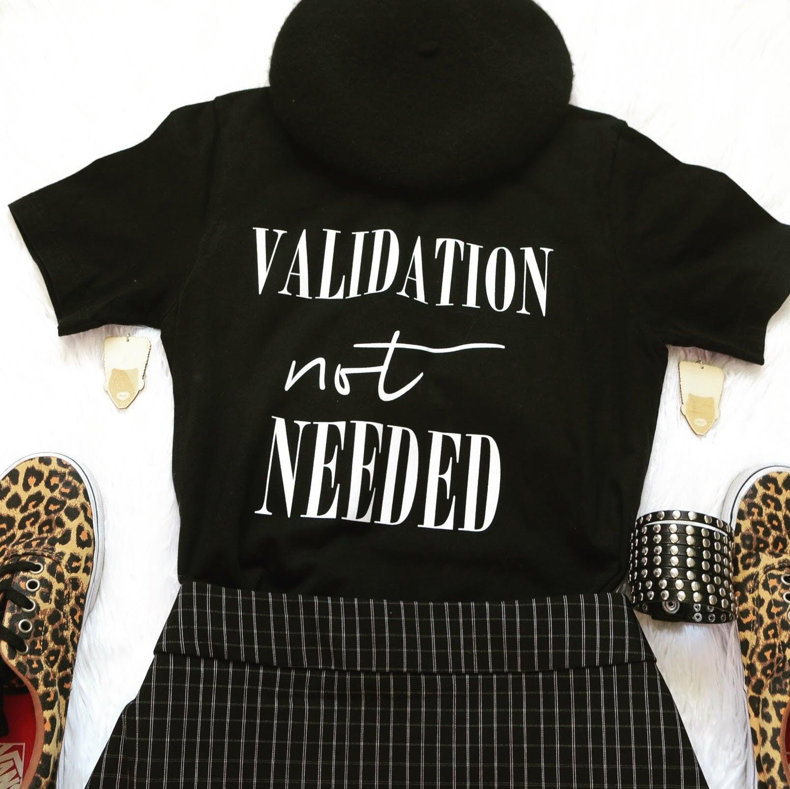 Validation not Needed Black T-shirt Crew Neck Empowerment T-shirts