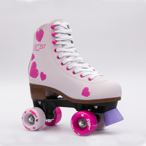 Quad Roller Skates Girls & Women-Size 2.5Kids to 8.5W-PinkHeart