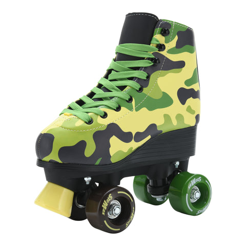 Stemax Quad Roller Skates for Boys, Girls and Women – Camo Skates – Size 2.5 Youth to 7.5 Men – Outdoor/Indoor & Rink Skating – Adjustable Lace System