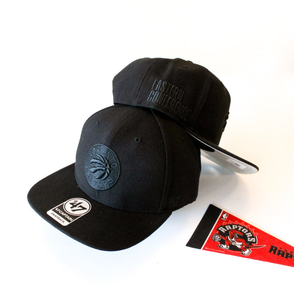 47 Sure Shot Black on Black Captain Toronto Raptors Snapback