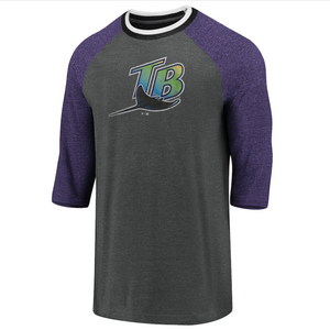 Fanatics Cooperstown Collection Tri-Blend 3/4 Sleeve Tampa Bay Devil Rays