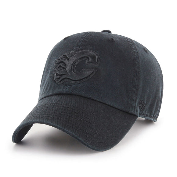 47 Clean Up Calgary Flames Black on Black Hat