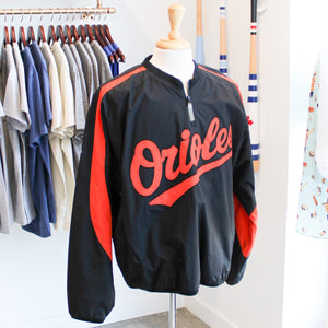 VINTAGE/PRELOVED - Majestic Mesh-Lined 1/4 Zip Pullover Baltimore Orioles