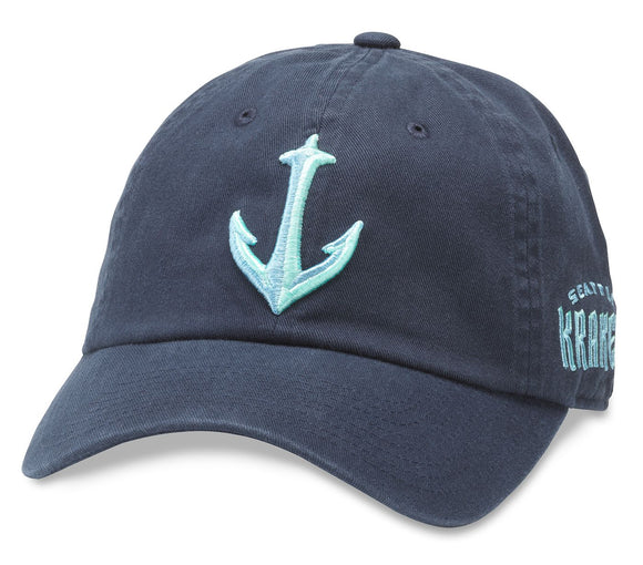 American Needle Seattle Kraken Blue Line Strapback Hat (Navy - Anchor Logo)