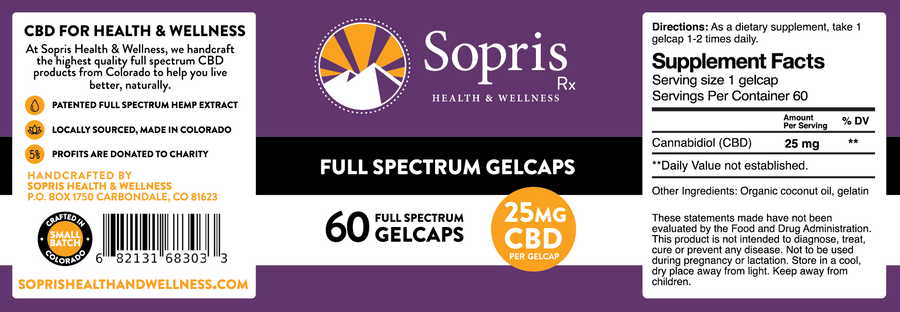 25 mg Full Spectrum CBD Gelcaps