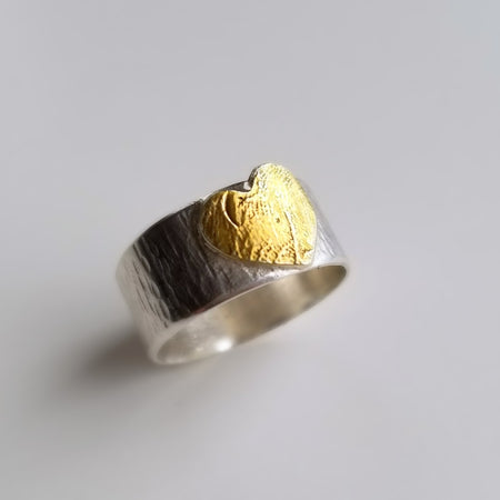 Personalized custom actual fingerprint ring with gold heart - sterling silver