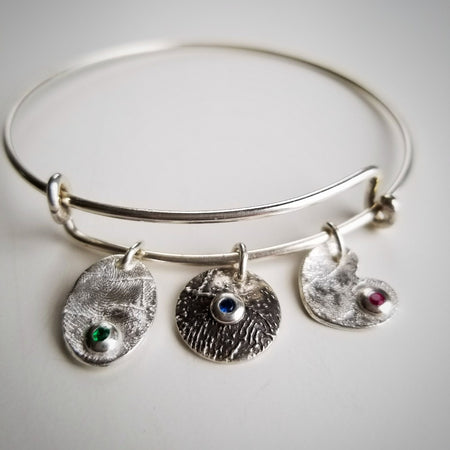 personalized custom actual fingerprint birthstone charm bracelet