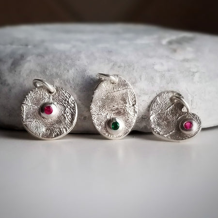 Fingerprint Birthstone Charms - Sterling Silver
