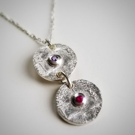 Double birthstone cz charm necklace with custom fingerprints - sterling silver