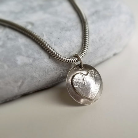 Custom handmade heart fingerprint necklace with sterling silver unseamed snake chain