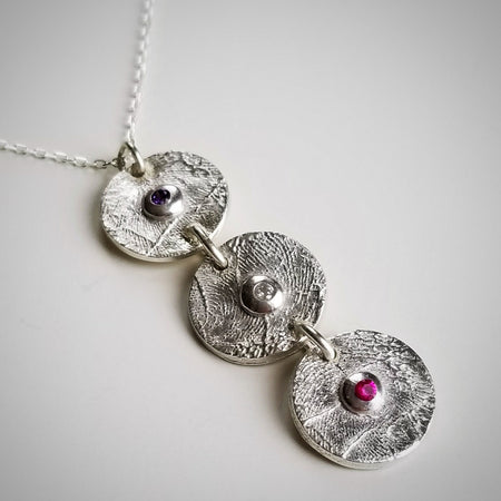 triple custom fingerprint birthstone charm necklace with sterling silver charms and cz birthstone