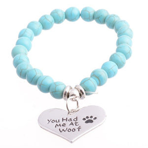 Bracelets Bangle Beads with Paws Charm