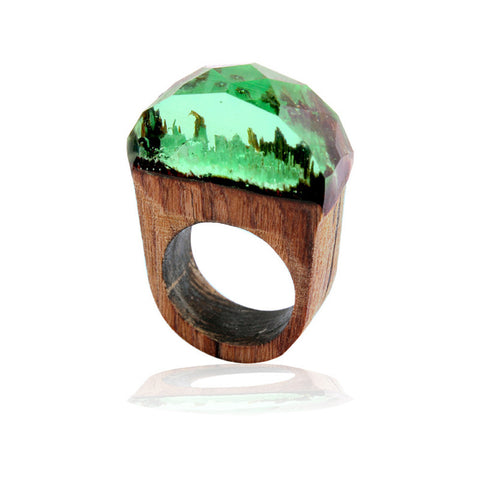 1pc 18mm Handmade Wood Resin Ring with Magnificent Tiny Fantasy Secret Landscape