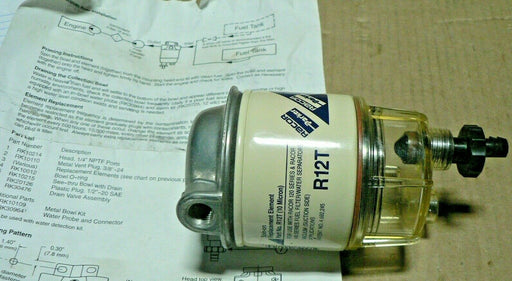 (nos) R12T PARKER RACOR FUEL FILTER w/o bracket (some small dents)