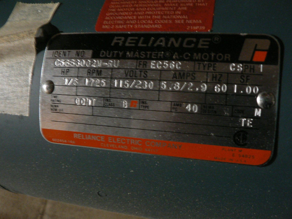 RELIANCE MOTOR1/3 HP 1 PH  C56S3002M-RU FRAME EC56C 115/230V 1725 RPM