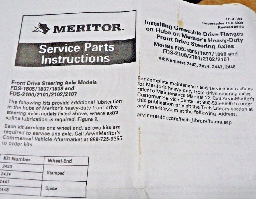 Rockwell Meritor KIT2434 Flange-Drive  Outer  RF/FDS A-3270-G-163 A3270G163