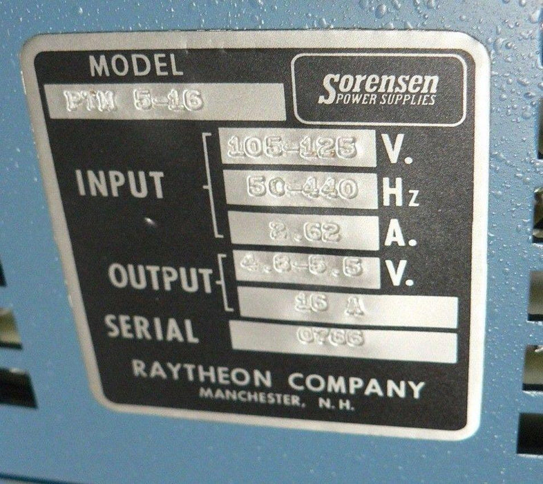 SORENSEN POWER SUPPLY  PTM 5-16