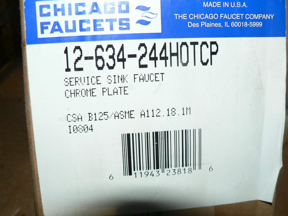 CHICAGO FAUCETS SERVICE SINK FAUCET 12-634-244HOTCP (NOS)