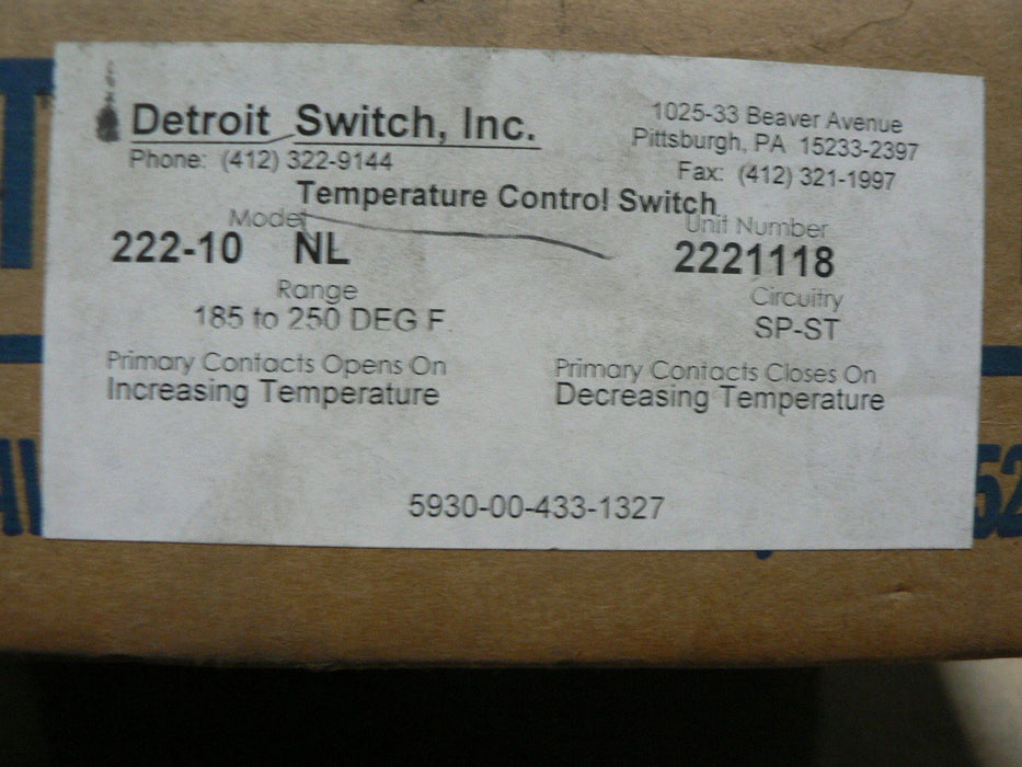 DETROIT SWITCH THERMOSTATIC SWITCH 222-10NL2221118 2221118 YORK 025-17128
