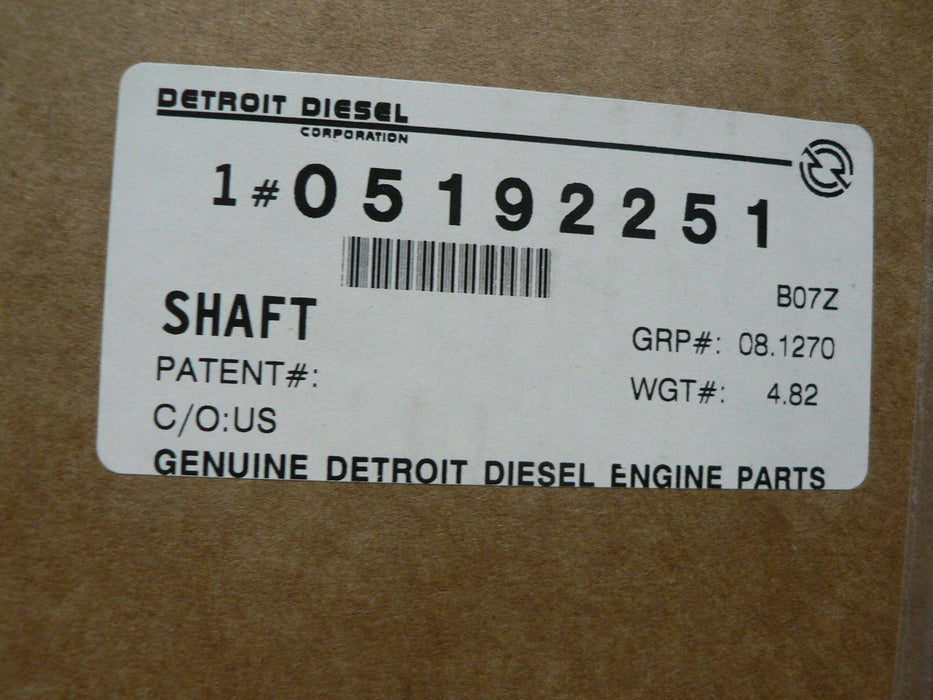 Genuine MTU/Detroit Diesel 8.2L SHAFT 5192251
